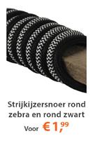 Strijkijzersnoeren Zebra Zwart-Wit & Zwart Rond